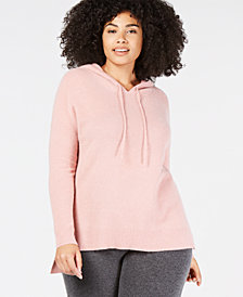Charter Club Plus Size Cashmere Thermal Hoodie, Created for Macy's