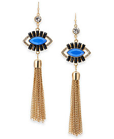 Thalia Sodi Gold-Tone Crystal & Stone Evil Eye Chain Tassel Drop Earrings, Created for Macy's