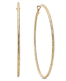 "Thalia Sodi Gold-Tone Textured Extra Large 4"" Hoop Earrings, Created for Macy's"
