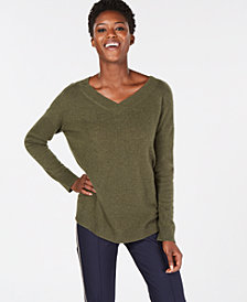 Charter Club Pure Cashmere Oversized V-Neck  in Sweater in Regular & Petite Sizes, Created for Macy's