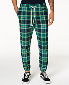 Jaywalker Men's Tartan-Print Jogger Pants
