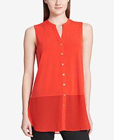 Calvin Klein Sheer-Hem Sleeveless Shirt