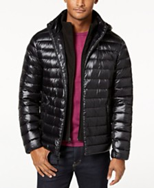 Calvin Klein Men's Packable Down Hooded Puffer Jacket
