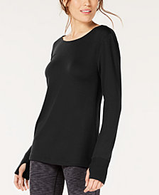 Ideology Lattice-Back Long-Sleeve Tunic, Created for Macy's