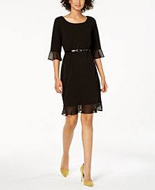 Connected Petite Belted Chiffon Bell-Sleeve Dress