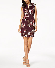 Connected Petite Metallic-Floral Sheath Dress