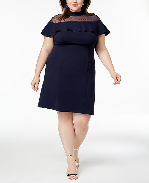 Squared Love Trendy Illusion Plus Size Flounce Dress Navy HwqwZd8