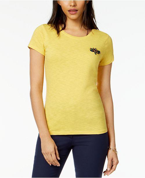 f9f998c36e3de ... Maison Jules Embellished Dragonfly T-Shirt
