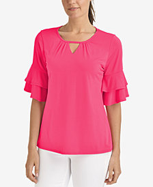 NY Collection Ruffle-Sleeve Keyhole Top