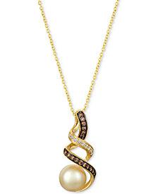 "Le Vian® Golden South Sea Pearl (8mm) & Diamond (1/5 ct. t.w.) 18"" Pendant Necklace in 14k Gold"