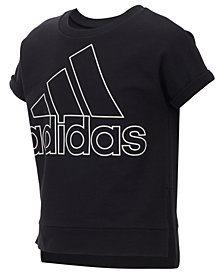 adidas Big Girls Cropped Logo-Print Sweatshirt