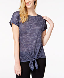 BCX Juniors' Asymmetrical Tie-Front Top