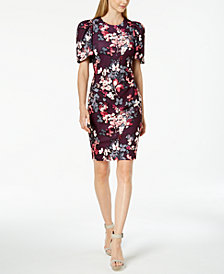 Calvin Klein Floral Puff-Sleeve Sheath Dress