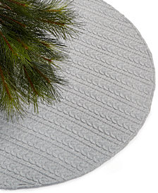 Holiday Lane Gray Knit Jersey Tree Skirt, Created for Macy's