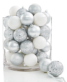 Holiday Lane 30-Pc. Silver & White Sequin & Striped Shatterproof Ball Ornament Set, Created for Macy's