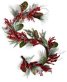 Martha Stewart Collection Plastic Garland with Red Berries & Pine Cones, Created for Macy's