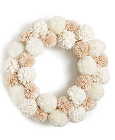 Holiday Lane Pom Pom Wreath, Created for Macy's