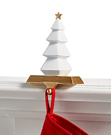 Holiday Lane White Tree with Gold Star Stocking Holder, Created for Macy's