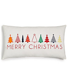 Holiday Lane ''Merry Christmas'' Trees 22'' x 12'' Pillow, Created for Macy's