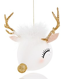 Glass Deer Head Ornament with Feather, Created for Macy's