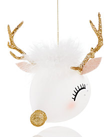Holiday Lane Glass Deer Head Ornament with Feather, Created for Macy's