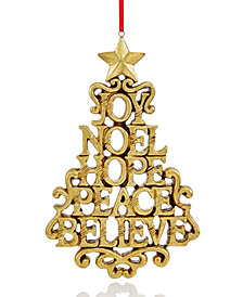 holiday lane gold tone joy to the world christmas tree ornament created for macys