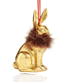 Holiday Lane Gold-Tone Bunny with Feathers Ornament, Created for Macy's