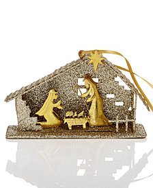 Holiday Lane Iron Wire with Glitter Nativity Inside House Ornament, Created for Macy's