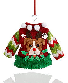 Holiday Lane Knit Sweater With Antlers Ornament, Created for Macy's