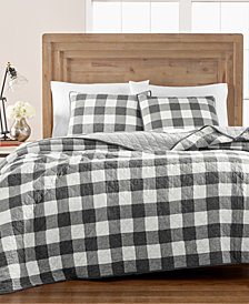 Martha Stewart Collection Box Plaid Reversible Yarn-Dyed King Quilt, Created for Macy's