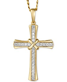 "Men's Diamond Cross 22"" Pendant Necklace (1/4 ct. t.w.) in 10k Gold"