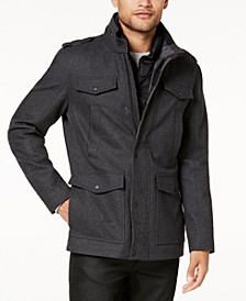 Men's Military-Inspired Coat with Plaid Detail