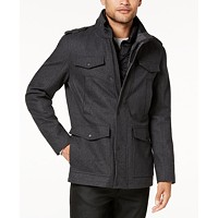GUESS Men's Military-Inspired Coat with Plaid Detail (Multiple Color)