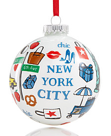 Holiday Lane Glass Ball Ornament with Macy's New York City Pattern, Created for Macy's