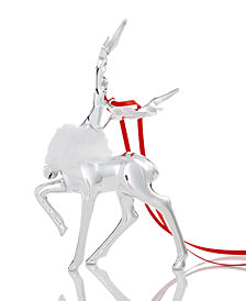 Holiday Lane Silver-Tone Deer Ornament with Bell & Neck Trim, Created for Macy's
