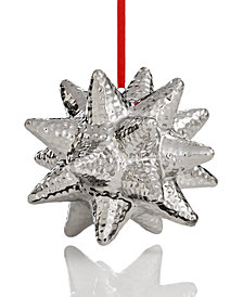 Holiday Lane Silver Porcelain Polygonal Star Ornament, Created for Macy's