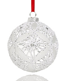 Holiday Lane Glass Ball with Snowy Decoration Christmas Hanging Ornament, Created for Macy's