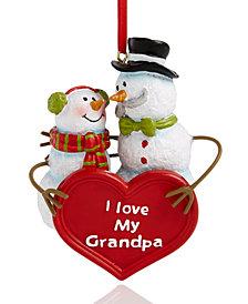 Holiday Lane ''I Love My Grandpa'' Snowmen Ornament, Created for Macy's