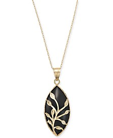 "Onyx Marquise Vine Overlay 18"" Pendant Necklace in 14k Gold"