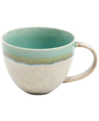 Elite Reactive Glaze Beige Mug with Jade Rim