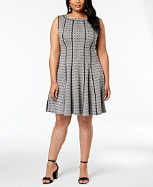 Taylor Plus Size Seamed A-line Dress