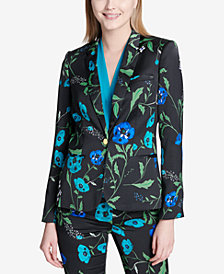 Calvin Klein Floral-Print One-Button Jacket, Regular & Petite