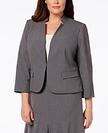 Nine West Plus Size Inverted-Notch-Collar Jacket