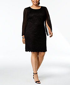 Connected Plus Size Lace & Chiffon Sheath Dress