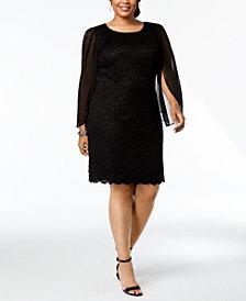 Connected Plus Size Lace & Chiffon Sheath Dress