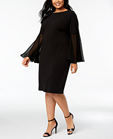 Calvin Klein Plus Size Printed Bell-Sleeve Dress