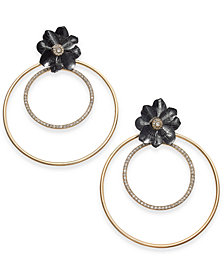 "Thalia Sodi Extra Large 2.75"" Two-Tone Crystal Flower Double Hoop Earrings, Created for Macy's"
