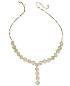 "I.N.C. Gold-Tone Crystal & Imitation Pearl Flower Lariat Necklace, 23"" + 3"" extender, Created for Macy's"