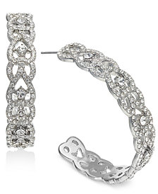 "I.N.C. Large 1.6"" Silver-Tone Crystal Open Hoop Earrings, Created for Macy's"