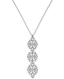 "I.N.C. Silver-Tone Pavé Openwork Pendant Necklace, 30"" + 3"" extender, Created for Macy's"
